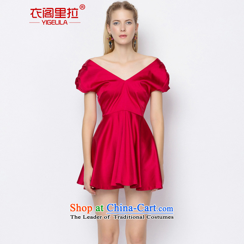 Yi Ge lire aristocratic dress dresses bubble cuff pressure on silk and cotton bridesmaid dress skirt bride services back door onto bows bright red 6700 S