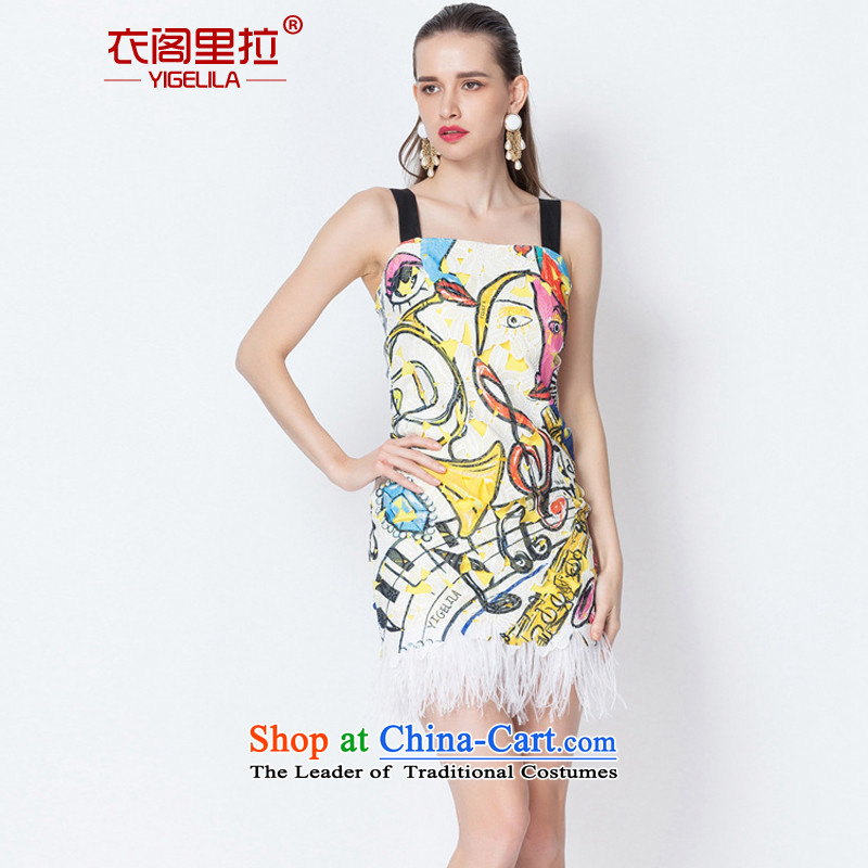 Yi Ge lire aristocratic banquet dress skirt straps feather Sau San video thin dress dresses silhouette stamp 6605 M