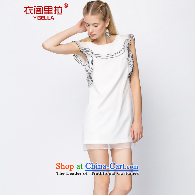 Yi Ge lire aristocratic sweet cascading off shoulder Sau San video thin skirt the small dining dress skirt white 6695 L