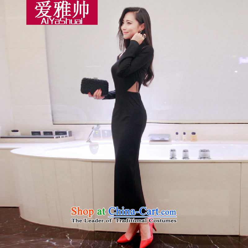 The 2014 Autumn Love Nga Shuai new products nightclubs and sexy female aristocratic temperament engraving package and long-sleeved dresses autumn dress skirt black�M