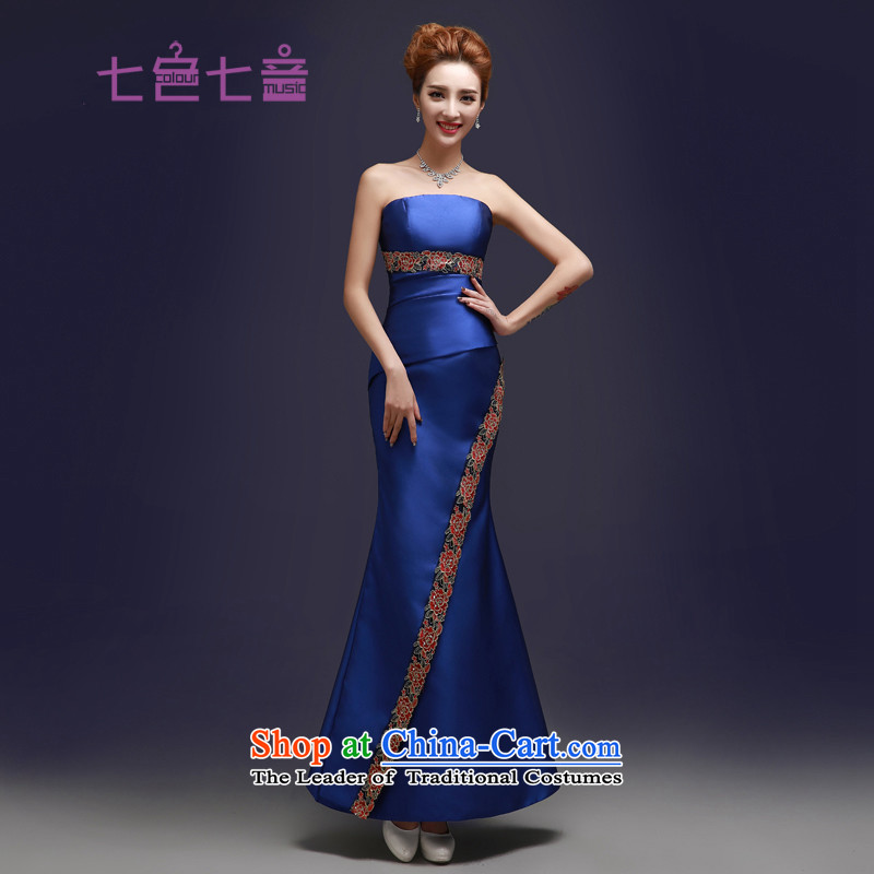 7 7 color tone original 2015 New Long Madame bows dress uniform wedding marriage Sau San Red Dress new graphics crowsfoot?L013 thin?blue tailor (does not allow)