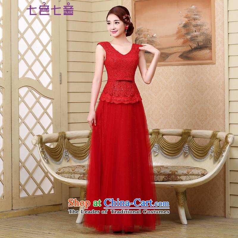 7 7 color tone?2015 bride bows services evening dress new stylish shoulders of Sau San wedding dresses?L024?RED?XL