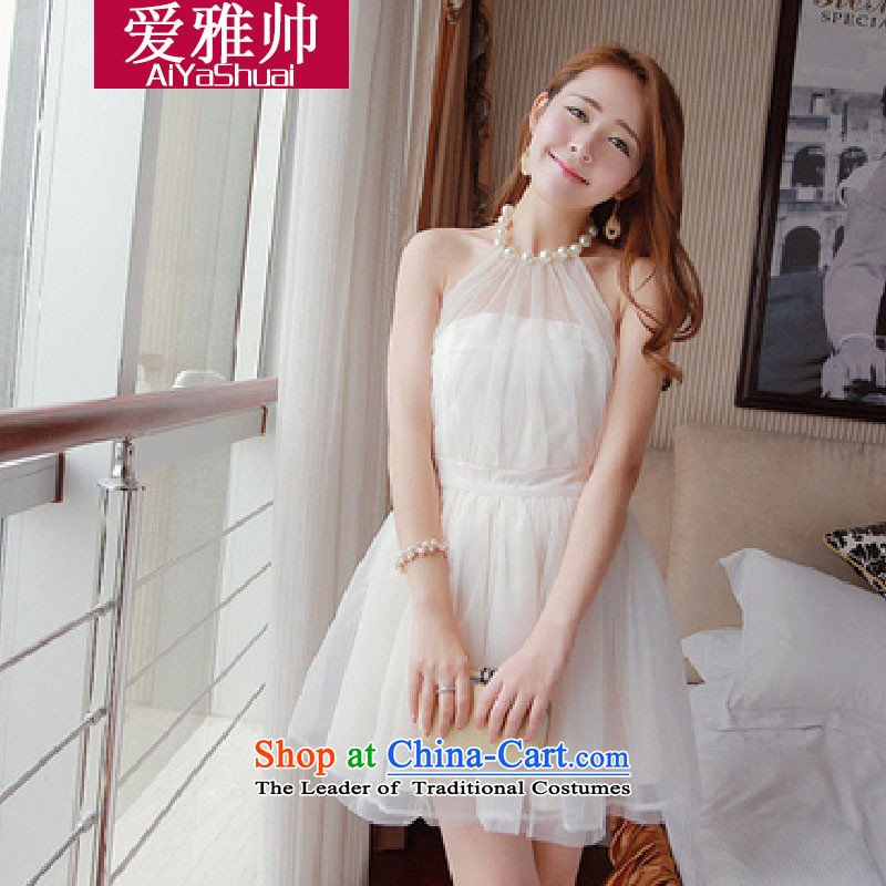 Love ya 2014 New Shuai nightclubs pearl-history and sexy back princess bon bon gauze small dress dresses white are code