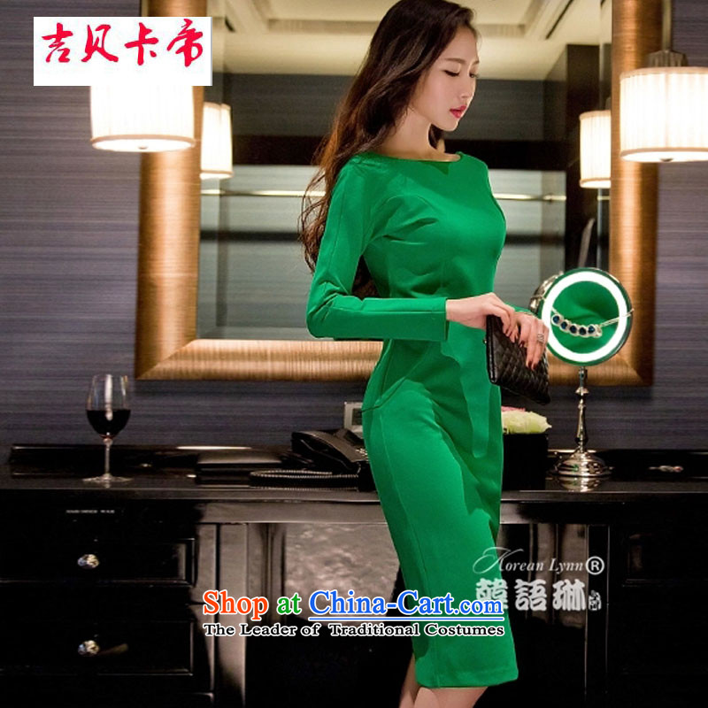 Gibez card in autumn and winter female sexy a field for the aristocratic temperament long-sleeved dresses Sau San long skirt green are code