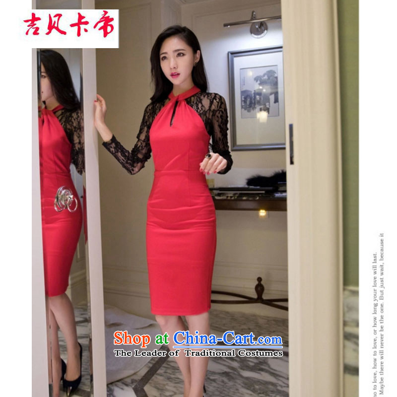 Gibez Card 2014 autumn in Dili with the Korean version of the female sex and the fluoroscopy lace hangs also engraving long-sleeved gown dresses 1979 Black�M