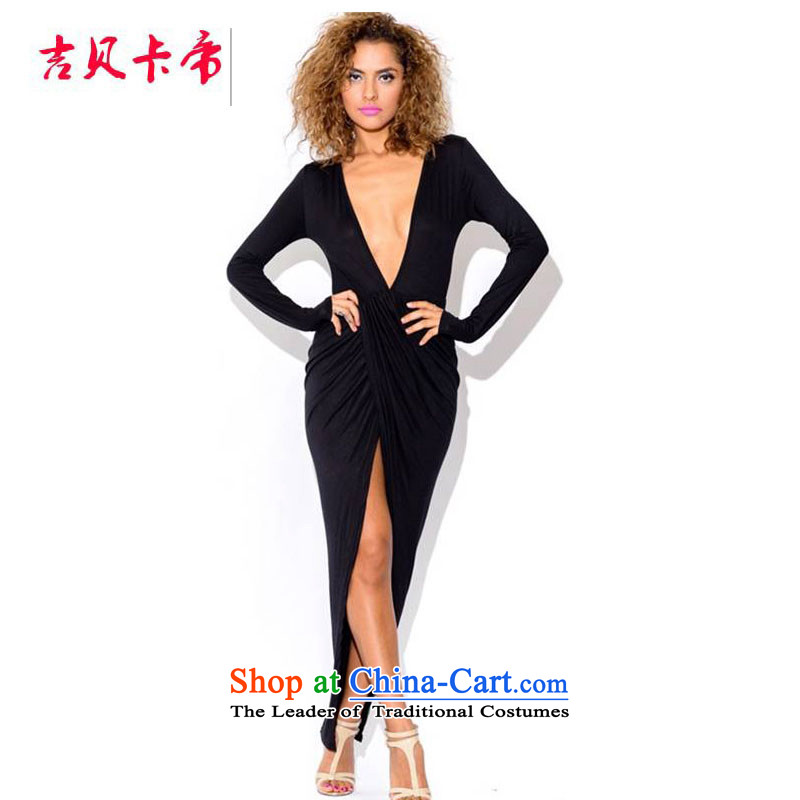 Gibez Card 2014 autumn in Dili and stylish crumpled long-sleeved dresses dress night package and long skirt black?L