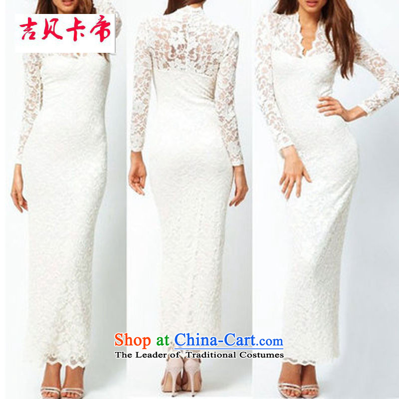 Gibez Card Dili western foreign trade dress�V-neck-lace Sau San lace sexy package and engraving long-sleeved gown long version White�XL