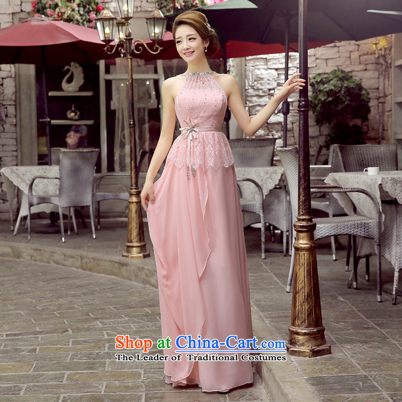 Toasting champagne evening dresses bride services�2015 autumn and winter new champagne color red long history video thin beauty hang bridesmaid dresses female pink�S