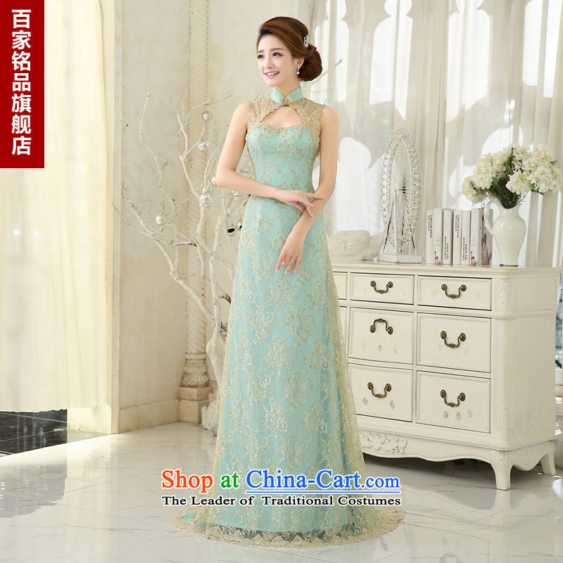 Evening dress long?2015 autumn and winter new bride services stylish graphics thin bows crowsfoot dresses luxury evening dress ice blue?XXL