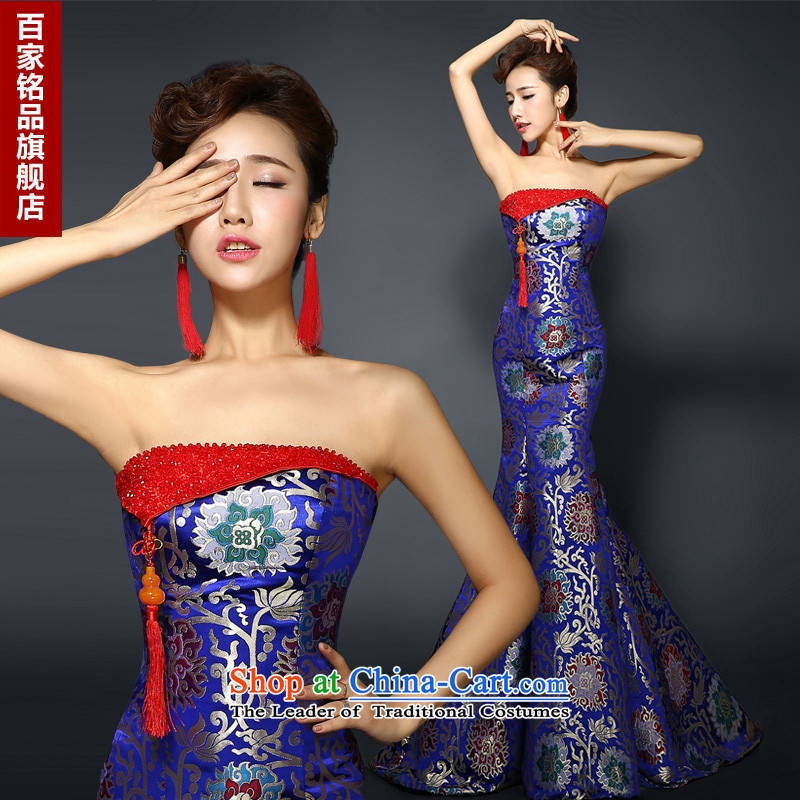 Qipao gown skirt�2015 New Stylish retro banquet service improvement bows crowsfoot long evening dresses dresses and women's skirt new products Blue M