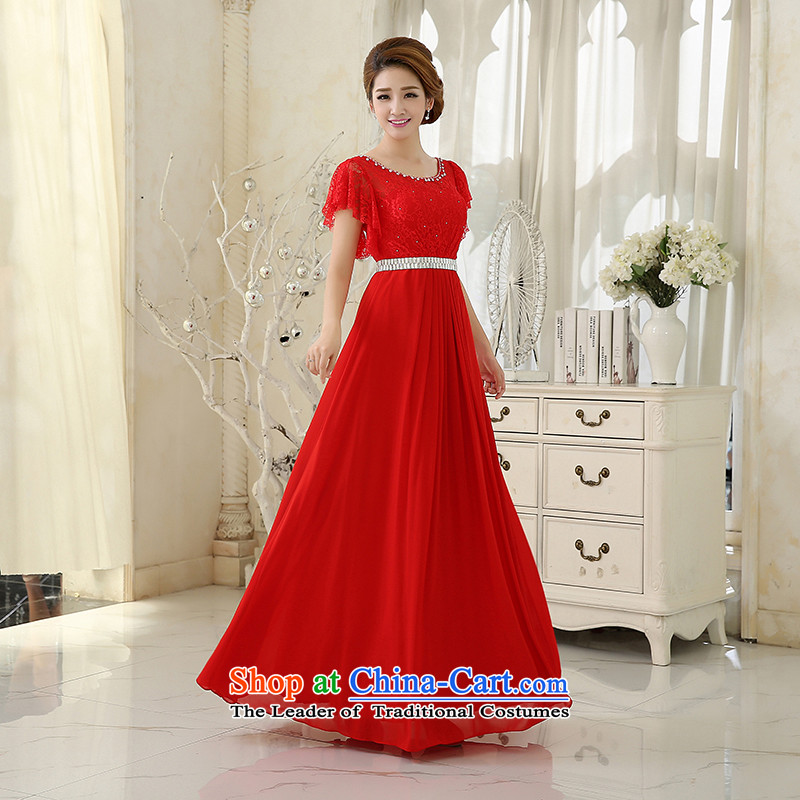 Wedding dress the?new bride toasting champagne 2015 service banquet service lace long red dress Sau San evening dresses bride RED?M