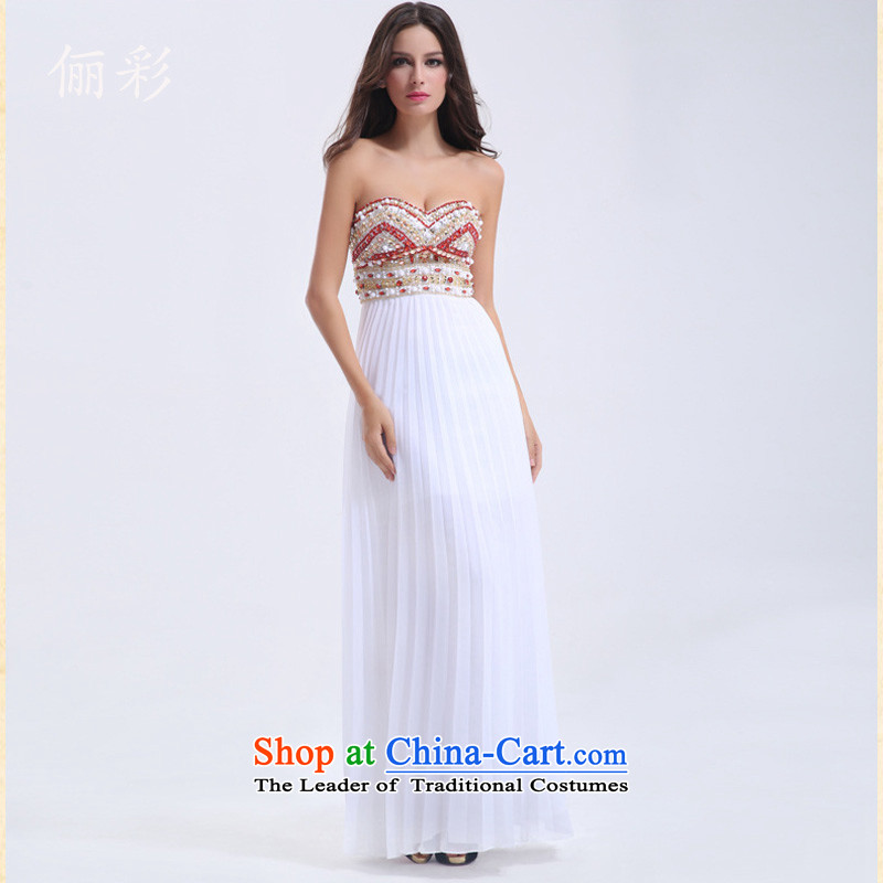158 multimedia services bridesmaid service bows chiffon long skirt moderator ball dresses and sexy skirt long gown skirt white聽L