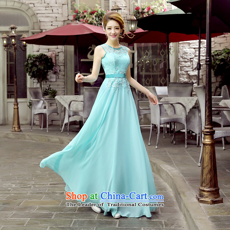 Evening dress dresses marriages bows services 2015 new lace round-neck collar graphics and slender, evening bridesmaid moderator dress female blue ice�S