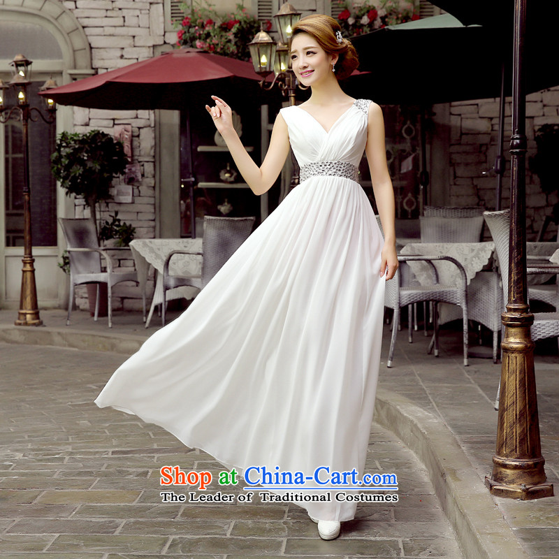 The bride bows evening dresses 2015 new diamond sexy deep Sau San long bridesmaid mission dresses banquet hosted long evening white?L