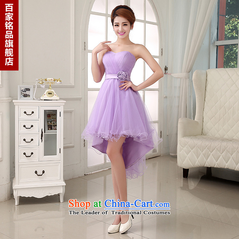 Dress evening dress small short skirts�2015 new stylish Sau San luxury lace bride bridesmaid before long after a short skirt Fall/Winter Collections female skirt light purple made Size 5-7 day shipping