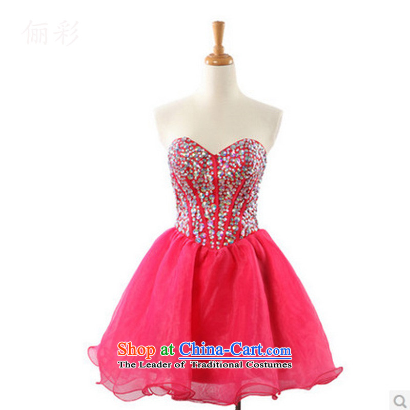 158 multimedia short, temperament dress skirt banquet bridesmaid dress bon bon skirt gathering in the skirt RED M