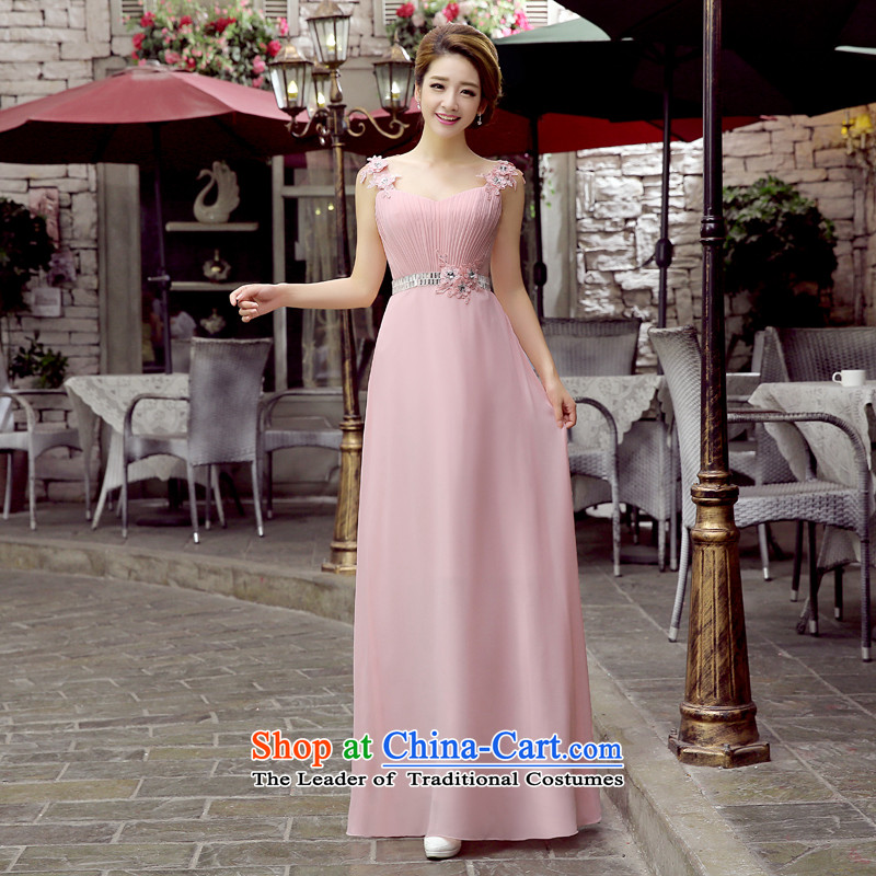 2015 new wedding dresses bows services marriages stylish diamond Sau San Foutune of pink dress long bridesmaid mission dresses pink?M