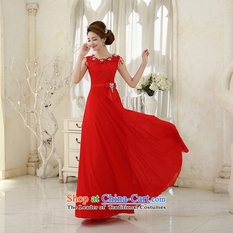 Wedding dress evening drink service�2015 new bride with a bridesmaid field shoulder Sau San red long autumn and winter female skirt new magenta�M