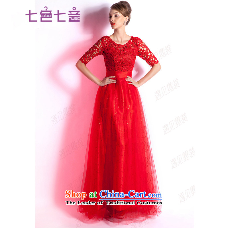 7 Color 7 tone Korean Red bows services 2015 marriage in long-sleeved gown bride evening wedding wedding gown of autumn and winter long- sleeved red L027 tailored _does not allow_