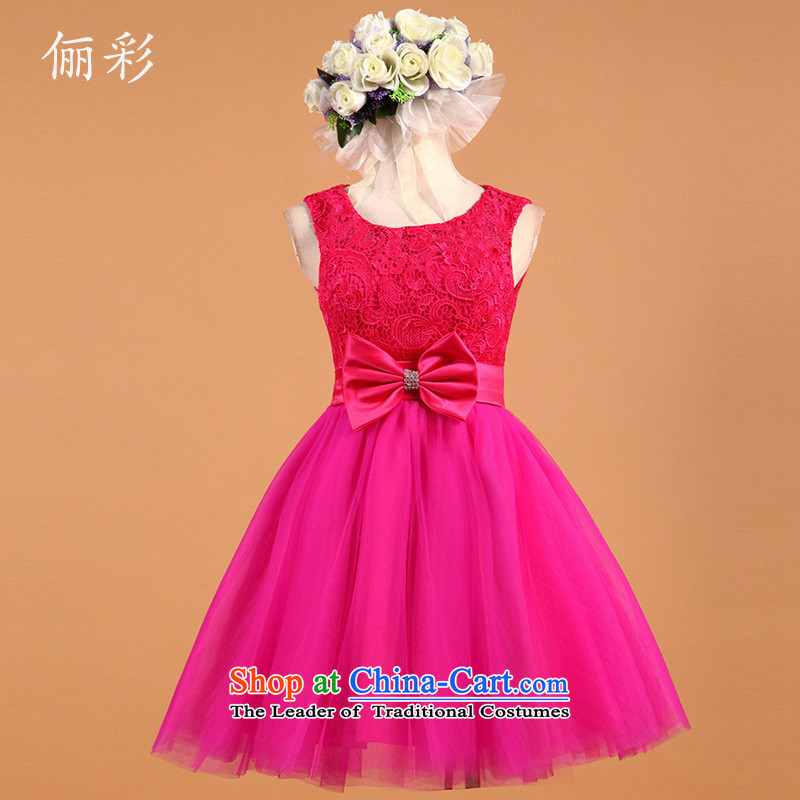 158 color red small dress lace sexy princess bridesmaid skirt short of the RED聽M