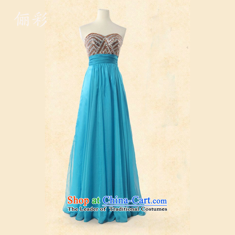 158 color long skirt dress lady reception banquet like Susy Nagle evening dresses lake blue聽XL