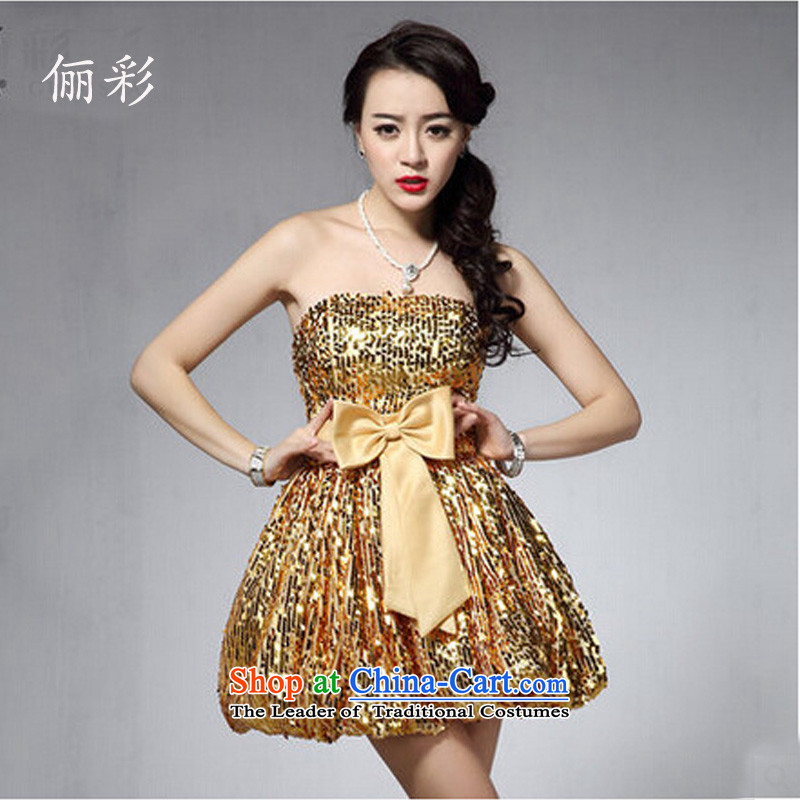 158 Korean dress up color chip anointed chest small dress short skirts of Princess bridesmaid skirt moderator dress gold?M