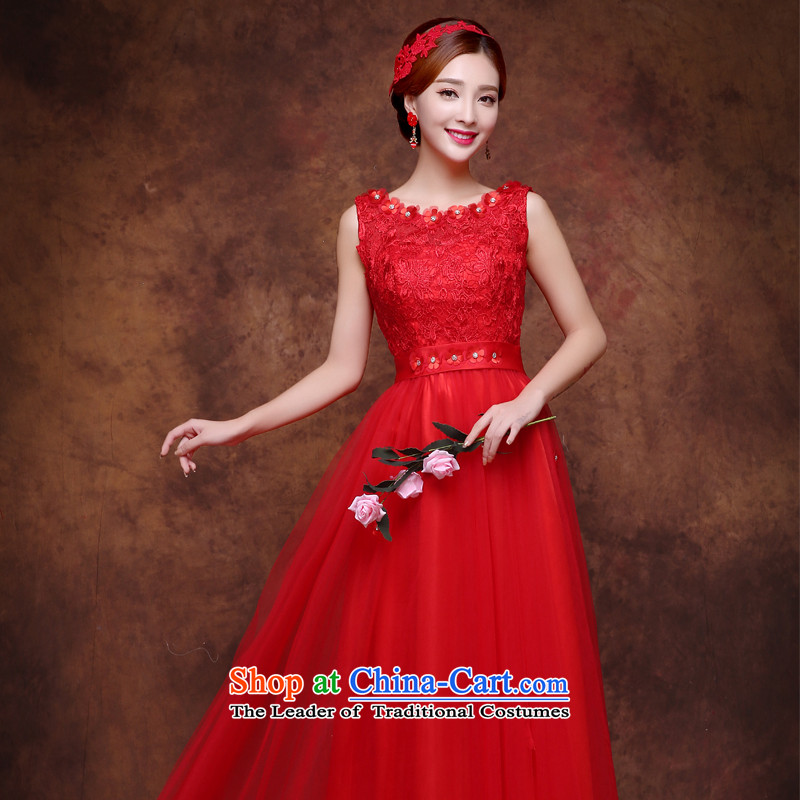 However, new dresses services 2015 Winter, lace video thin bride bows services word dress shoulder red long annual meeting under the auspices of Sau San banquet dress tailored red
