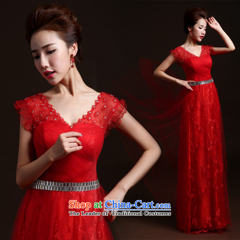The autumn and winter bridesmaid dress the new 2015 Red bows Service Bridal Fashion marriage banquet long evening dress annual Sau San small trailing bridesmaid dress bows services red L