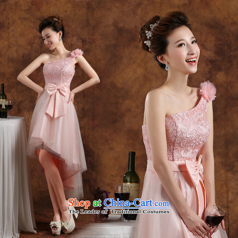 Bridesmaid evening dresses and Stylish service bridesmaid dress 2015 new marriage bows to dress short of winter bridesmaid mission sister skirt annual meeting of persons chairing the banquet evening dresses pink聽M
