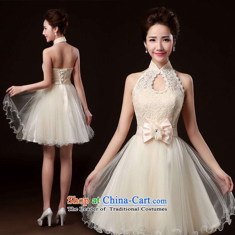 Lily Dance bridesmaid dress new 2014 winter clothing dresses bridesmaid stylish banquet hosted the annual meeting of the Evening Dress Short bridesmaid mission sister skirt bridesmaid to dress champagne color聽L