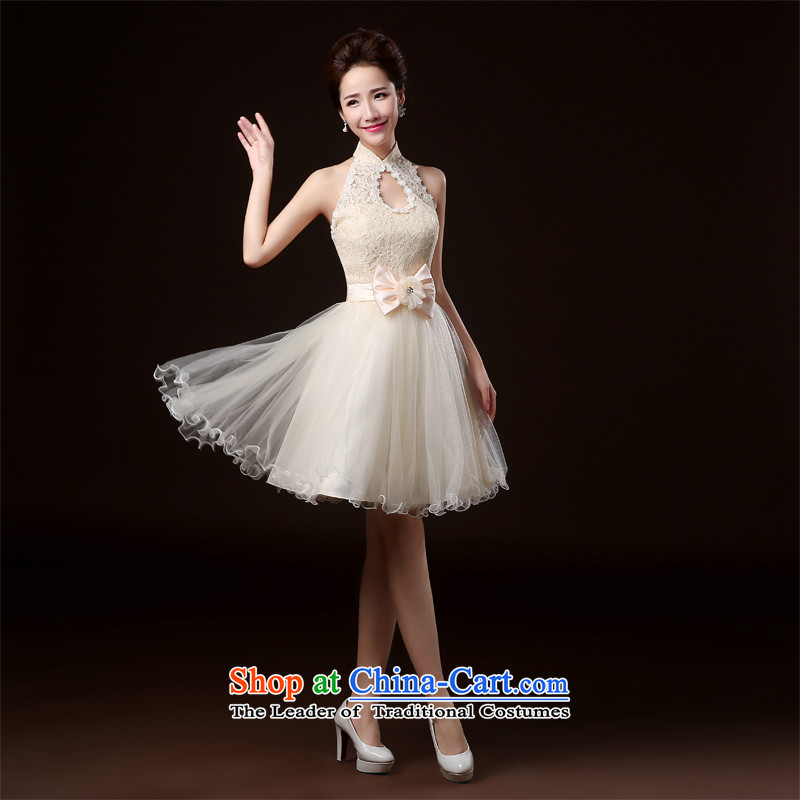 Lily Dance bridesmaid dress new 2014 winter clothing dresses bridesmaid stylish banquet hosted the annual meeting of the Evening Dress Short bridesmaid mission sister skirt bridesmaid to dress champagne color L, Lily Dance (ball lily shopping on the Internet has been pressed.)