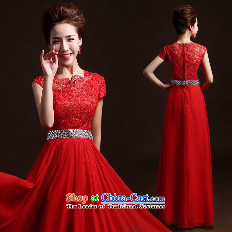 Wedding dresses new 2015 Summer bride bows services red stylish bridesmaid dress long service dress annual Sau San bows banquet evening dresses red聽XXL