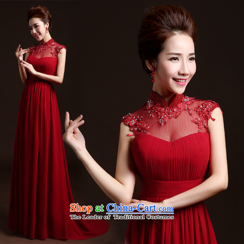 Wedding dresses new 2015 winter stylish marriages bows to red dress banquet annual long service dresses bows Sau San tailored red