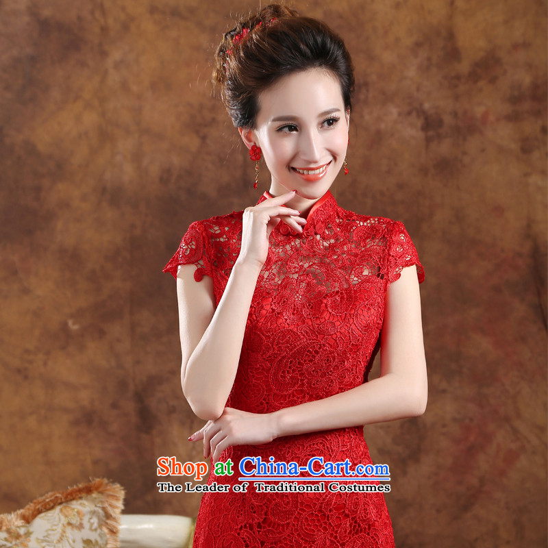 2015 new stylish bridal dresses word service bows shoulder crowsfoot Sau San marriages bows service long red dress RED?M Annual Meeting