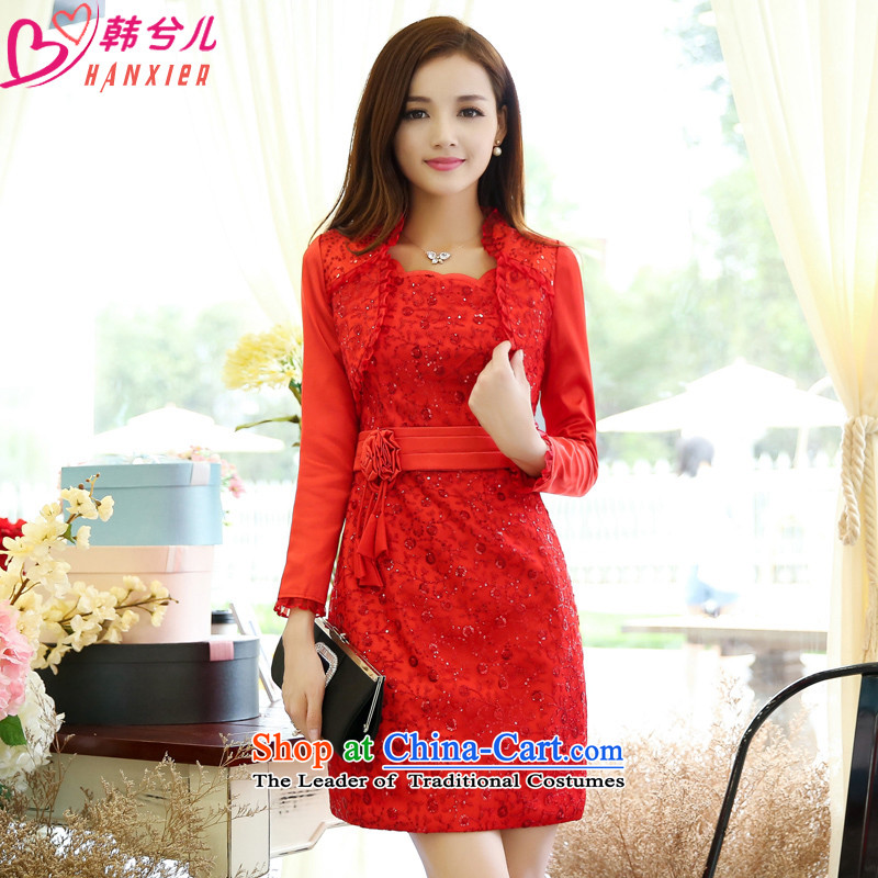 Female Red Dress ZUOWEIBEINI) Wedding bridesmaid marriages bows evening dress autumn and winter,�L