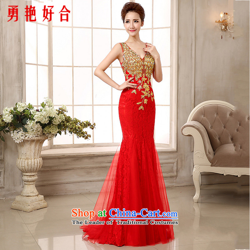 Yong-yeon and?stylish bows serving long 2015) Field tail dress shoulder retro high-end crowsfoot dress will be made under the auspices of dress red color is not returning Size