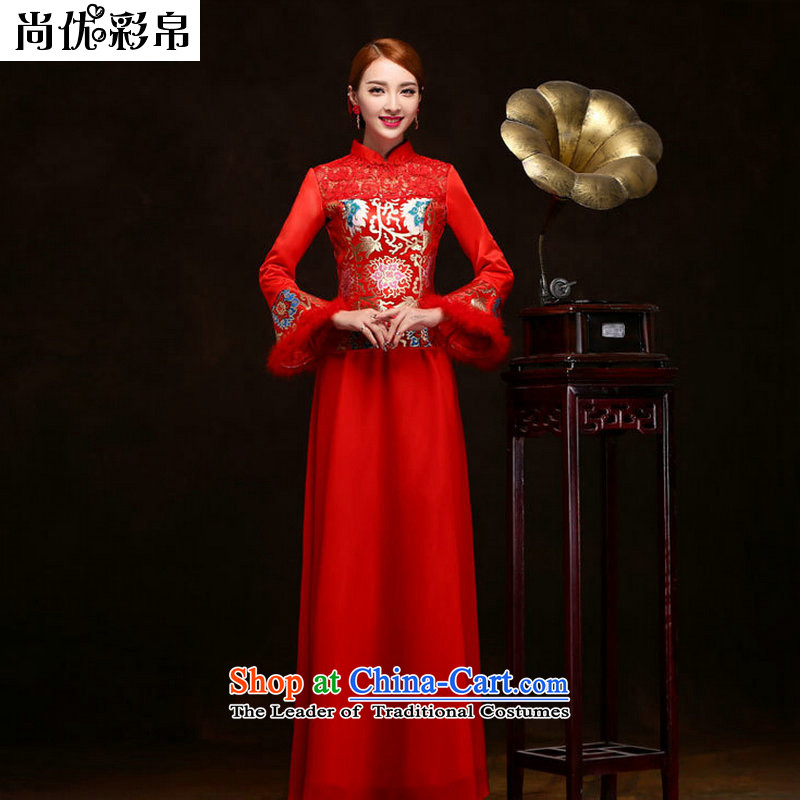 There is also optimized 8D Red bows Service Bridal long 2014 new wedding gown marriage wedding dress long-sleeved qipao autumn and winter load YSB2083 RED M