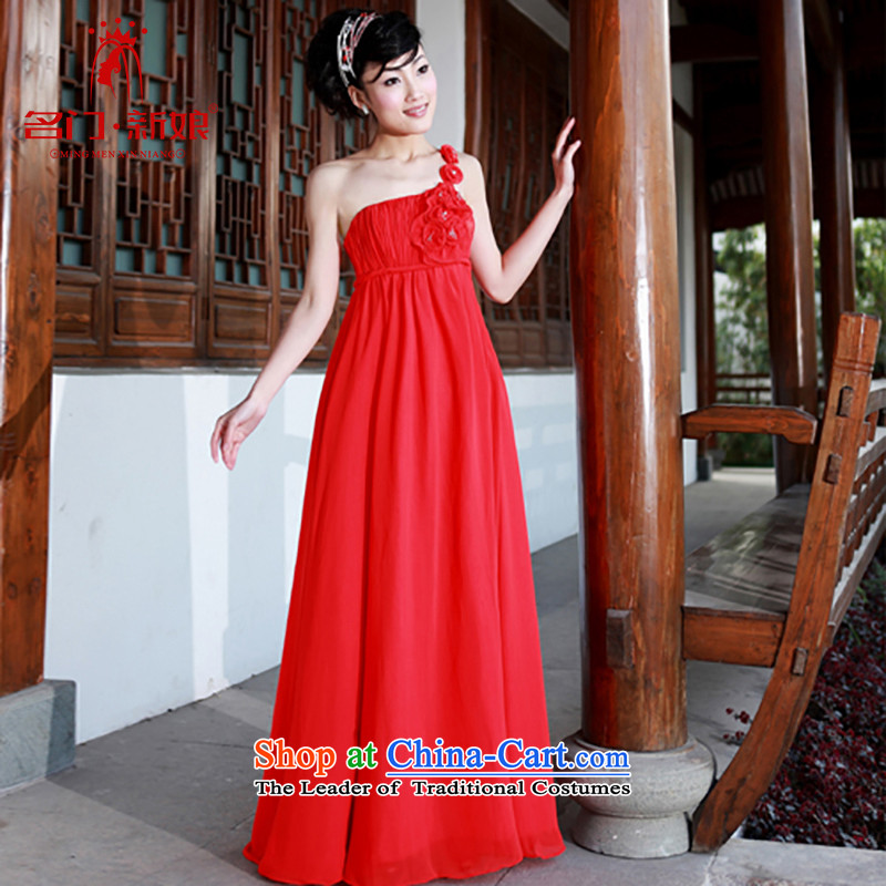 A bride wedding dresses red dress shoulder wedding dress marriage bows dress 783S