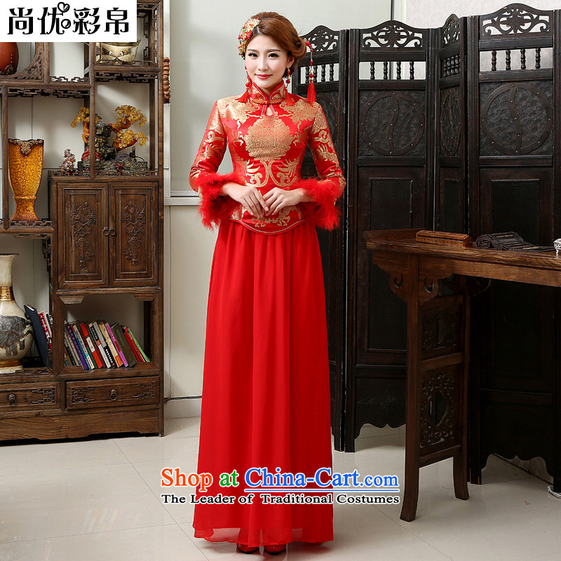 There is also optimized 8D Long thick long-sleeved winter clothing qipao gown YFTK2814 Chinese Antique bride red?XXL