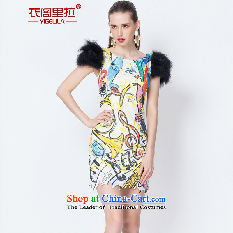 Yi Ge lire aristocratic ladies of Flamingo feather shoulder banquet performances dress skirt 6612 Identifying Real-L