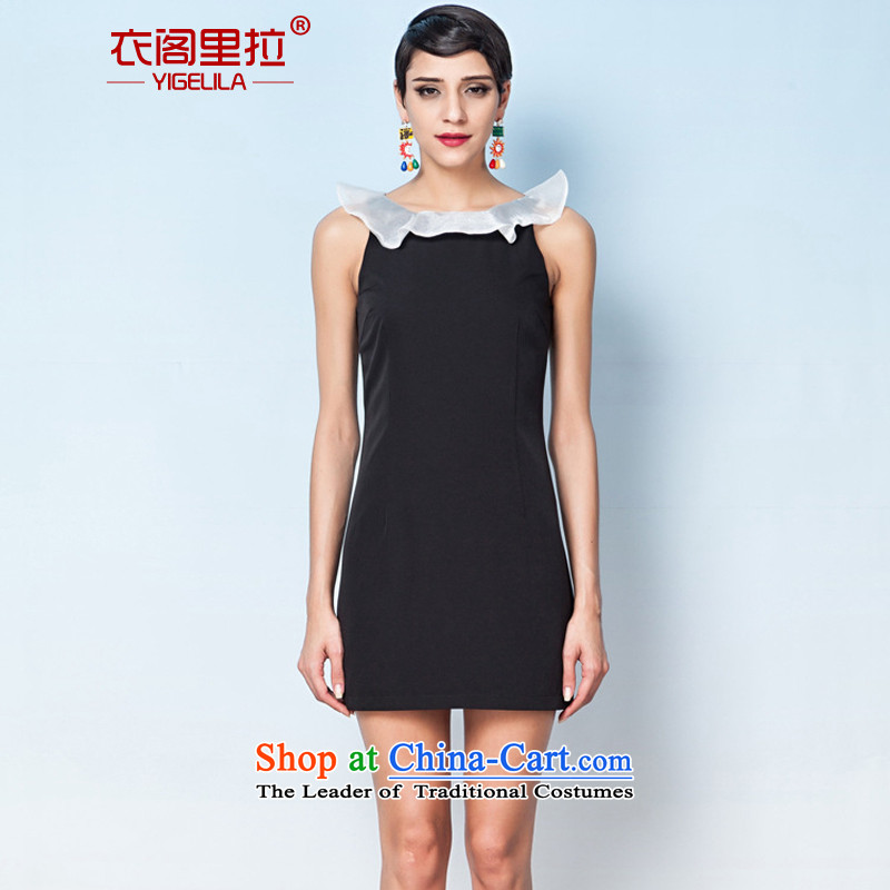 Yi Ge lire aristocratic ladies snow yarn niba shoulder sleeveless Dress Casual Day-to-small banquet dress skirt black 6,632 M