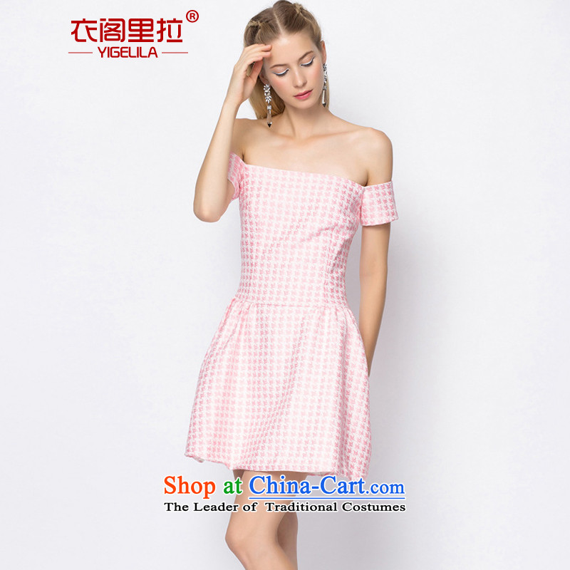 Yi Ge lire Pink Lady temperament small word dress bare shoulders Foutune of Sau San video thin banquet dress skirt pink 6,726 S