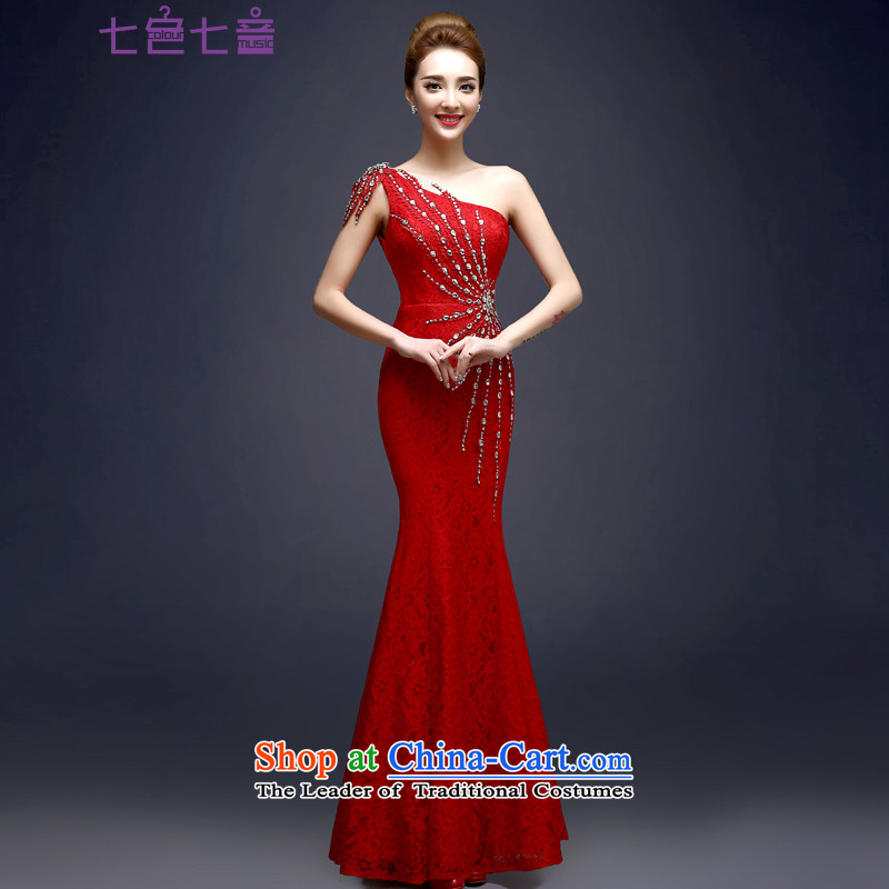 7 7 color tone?2015 new long single shoulder Sau San diamond crowsfoot banquet service evening dresses?L029 bows?red?XL
