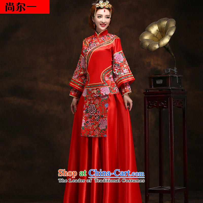 Naoji a Chinese style wedding Sau Wo retro-marriages bows wedding dresses wedding dress YY2092 REDM