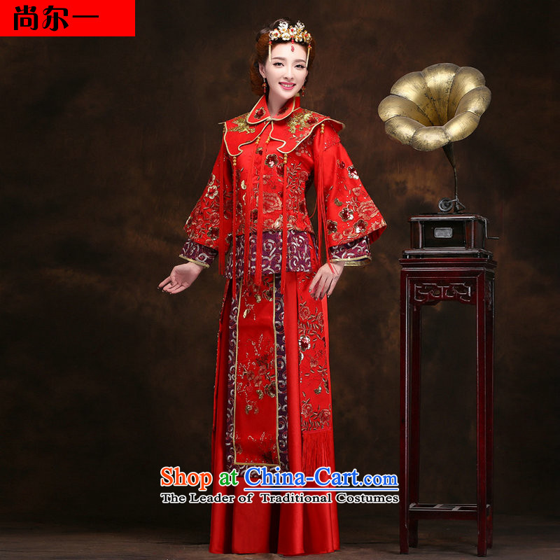 Naoji a dragon use the new Chinese Dress Wedding dress-hi use marriages red long winter YY2094 retro?XXXL red