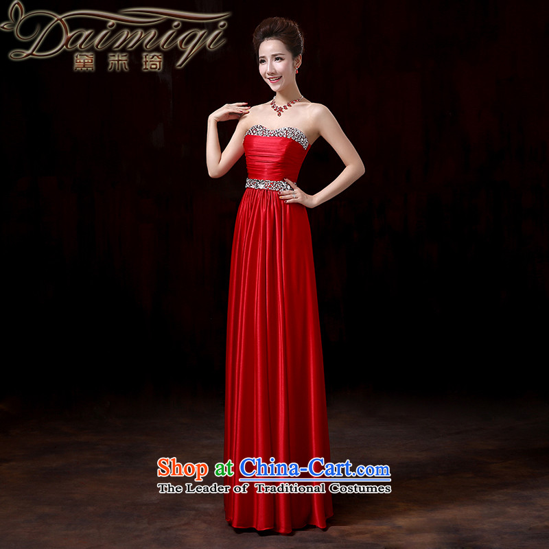 Doi m qi?2014 winter of noble heart evening dresses and chest to long wine red bows to stylish moderator will red?XL