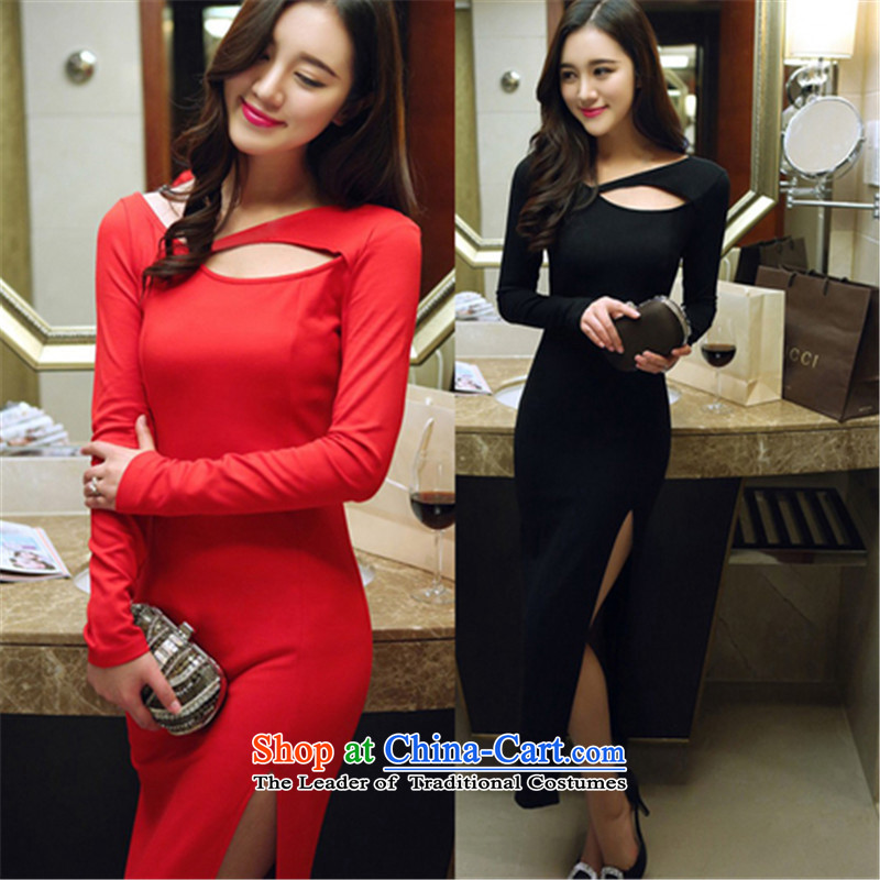 Connie, Texas real concept in spring and autumn 2015 installed new aristocratic ladies sexy engraving back long-sleeved shirt and package long skirt the forklift truck black聽M