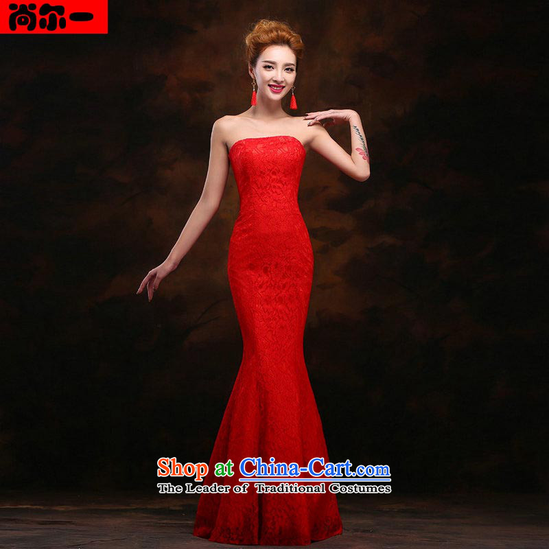 A Korean-style yet erase chest Sau San long dinners bridesmaid dress marriage dress ys2398 bows red XXL