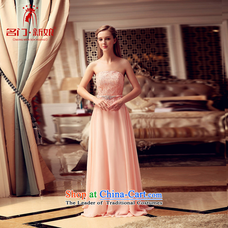 A Bride wedding dress the new 2015 winter bridesmaid dress uniform bride wedding dresses bows 712 pink?L