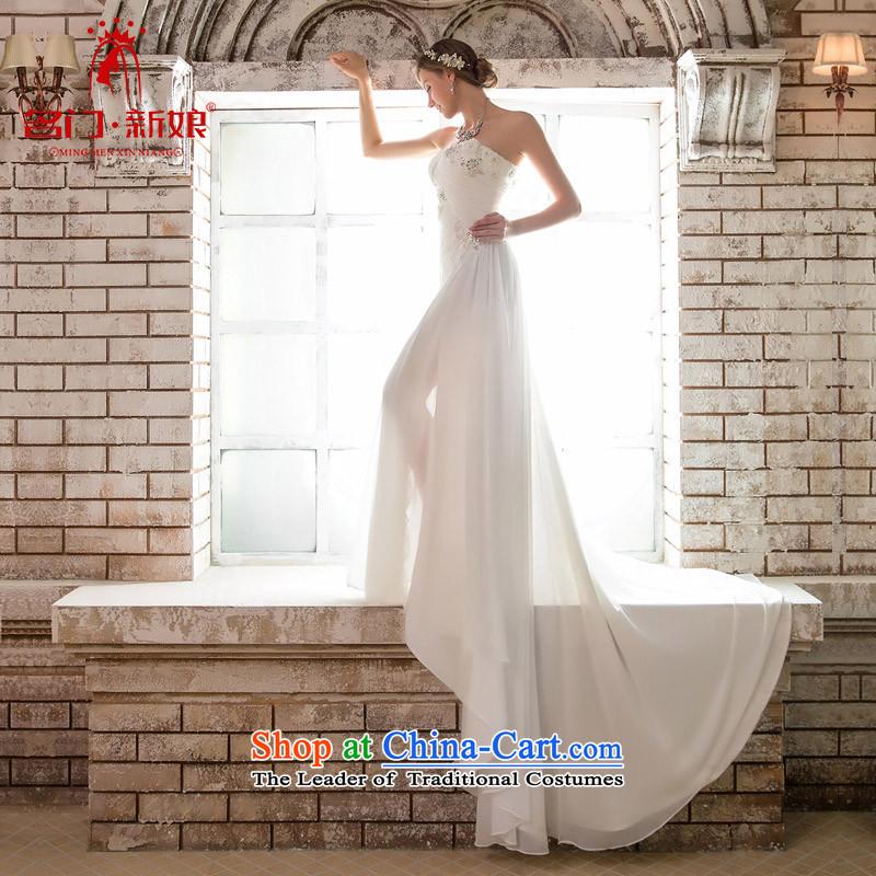A Bride wedding dresses new 2015 original design and elegant dinner dress uniform trailing white 631�S
